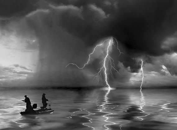 fishing in a storm